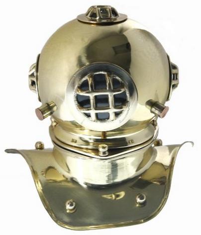 Desktop brass diving helmet