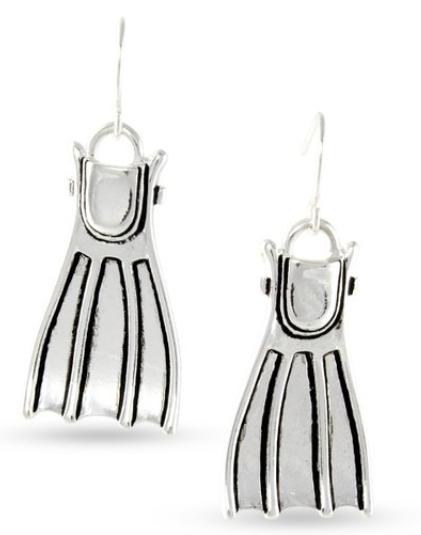dive fin dangling earrings