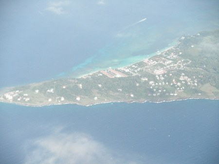 Aerial view of Roatan, Honduras