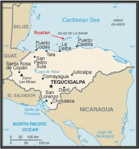Map showing where Roatan is located in Central America