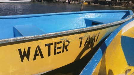 water taxi on roatan, honduras