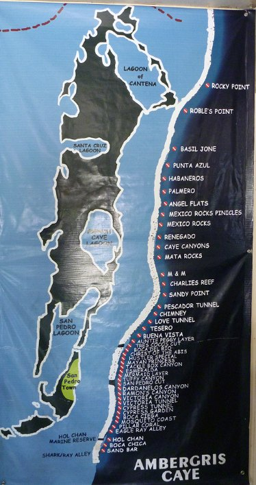 Map of dive sites in Ambergris Caye, Belize