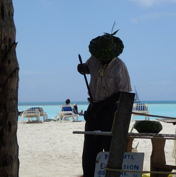 Antigua worker on Jolly Beach