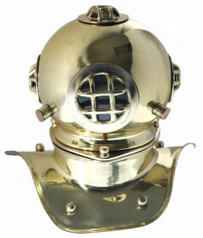 Desktop brass diving helmet