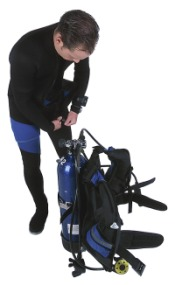 Scuba diver suiting up
