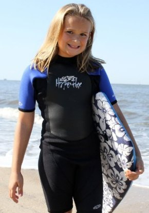 Our pick for best kids wetsuit - a Hyperflex model