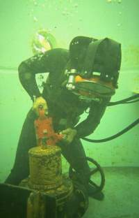 Commerical diver working a job