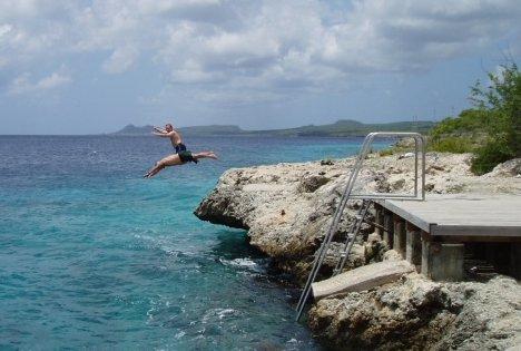 More fun after scuba diving in Bonaire.