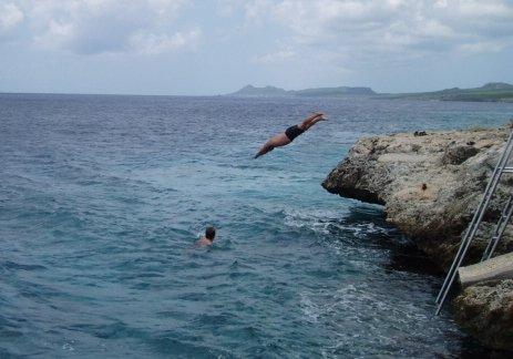 Having fun after scuba diving in Bonaire.