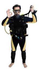 scuba diver with equipment