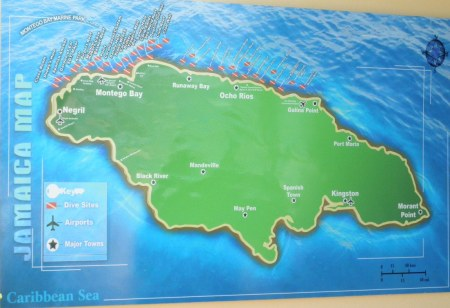 Map of dive sites in Jamaica