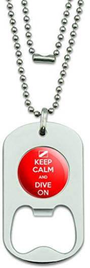 scuba diver dog tag and bottle opener