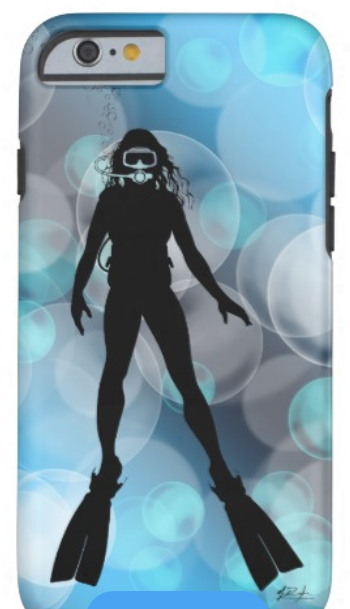 female scuba diver phone case cover