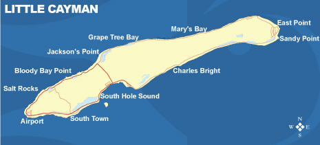 Map of Little Cayman, Cayman Islands.