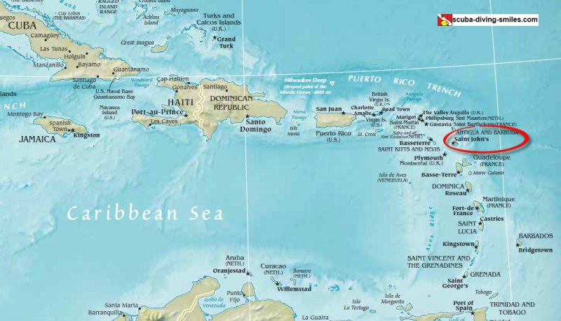 Map of Antigua in the Caribbean
