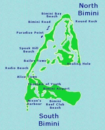 Map of Bimini Island in the Bahamas