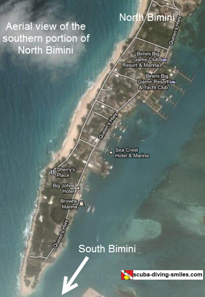 Aerial view map of Bimini Bahamas
