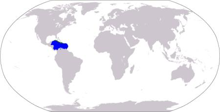Map with Caribbean highlighted to show its location in world.