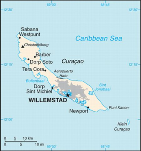 General map of the island of Curacao