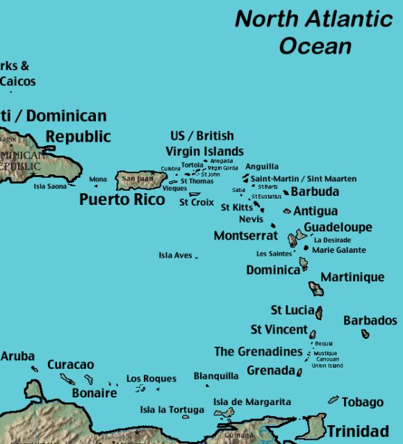Closup of Western Caribbean map