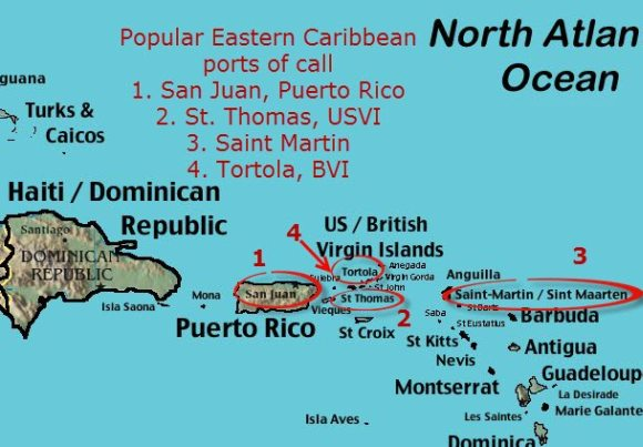 Map of Eastern Caribbean with popular cruise ship ports of call