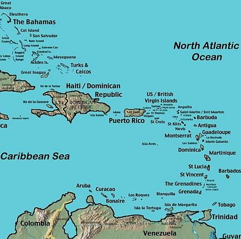 Map Of Eastern Caribbean Islands