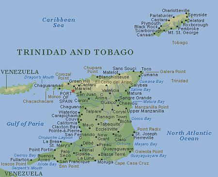 Detailed map of Trinidad and Tobago