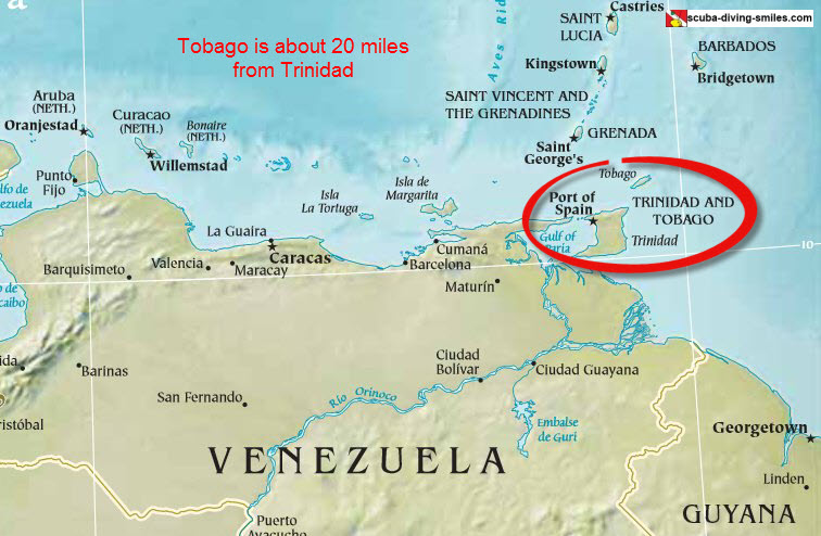 Map of Trinidad and Tobago islands