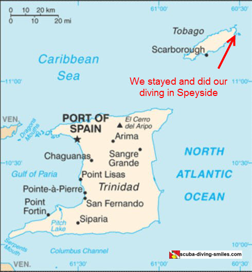 Map of Trinidad and Tobago, highlighting Speyside