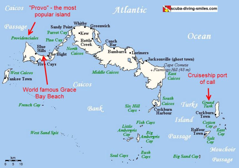 Map of Turks and Caicos Islands with tourist highlights