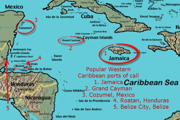 Map of Western Caribbean with popular cruise ship ports of call.