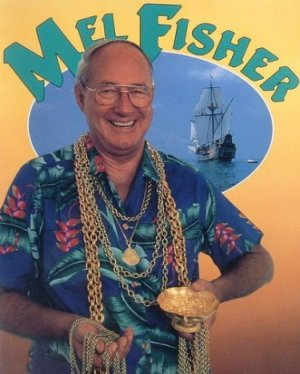 Mel Fisher with some of his underwater treasures.