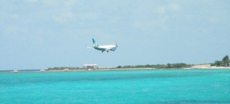 Plane coming in for a landing at Sangster in Montego Bay