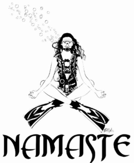 scuba and yoga namaste