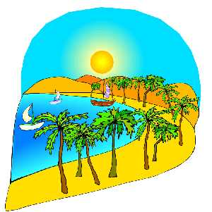 Clipart of palm trees lining bay with sailboat