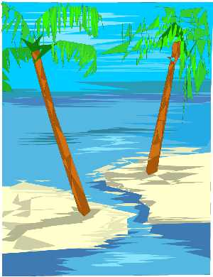 Clipart of palm trees on beach and blue wate