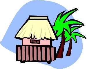 Bungalow next to palm tree clipar