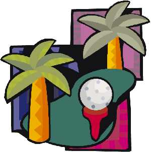 Clipart of palm trees with golf ball on te
