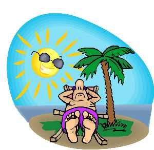Man laying in chair under a clipart of palm tree