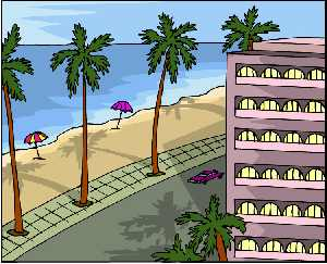 Palm tree clipart with highrise on beac