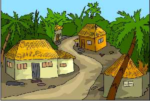 Thatched roof homes in palm tree clipart scen