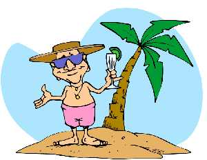 Man with drink in palm tree clipart