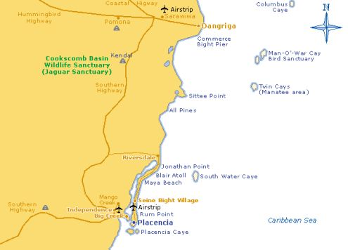 placencia map belize