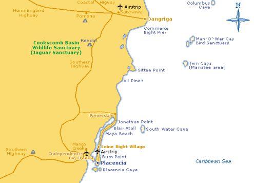 placencia map belize