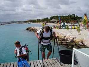 Doing some shallow water training for scuba certification course