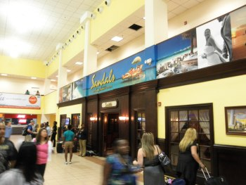 Sandals welcoming lounge in Sangster Airport, Montego Bay, Jamaica