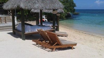 beach club cabanas for rent at sandals grande riviera, jamaica