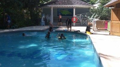 scuba diving pool, sandals grand riviera