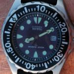 A scuba diving watch with bezel.