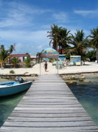 Coming off the ferry to Caye Caulker